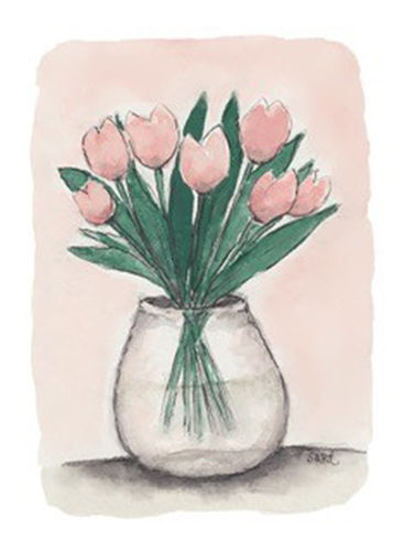 Greeting card Sari's Artwork - Pink tulips