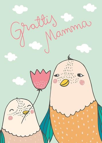 Greeting card Mira Mallius - Birds, grattis mamma